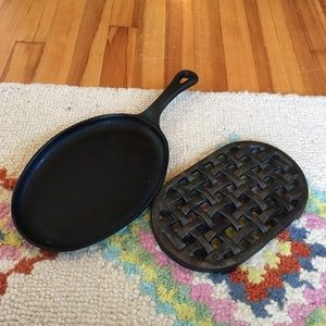 Cast iron pan and trivet